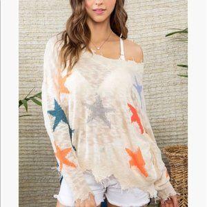 MAIN STRIP Cream Colorful Distressed Star Sweater